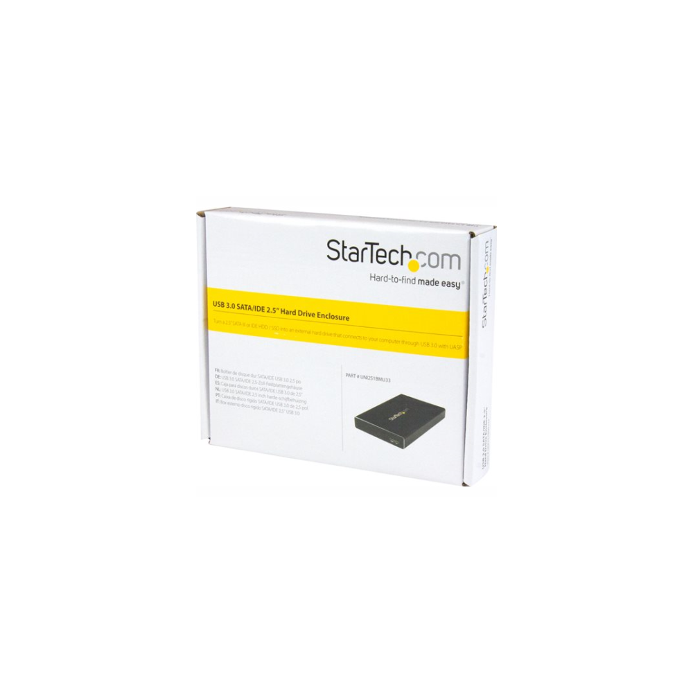 A large main feature product image of Startech USB3.0 Universal SATA/IDE 2.5in HDD/SSD Enclosure w/ UASP