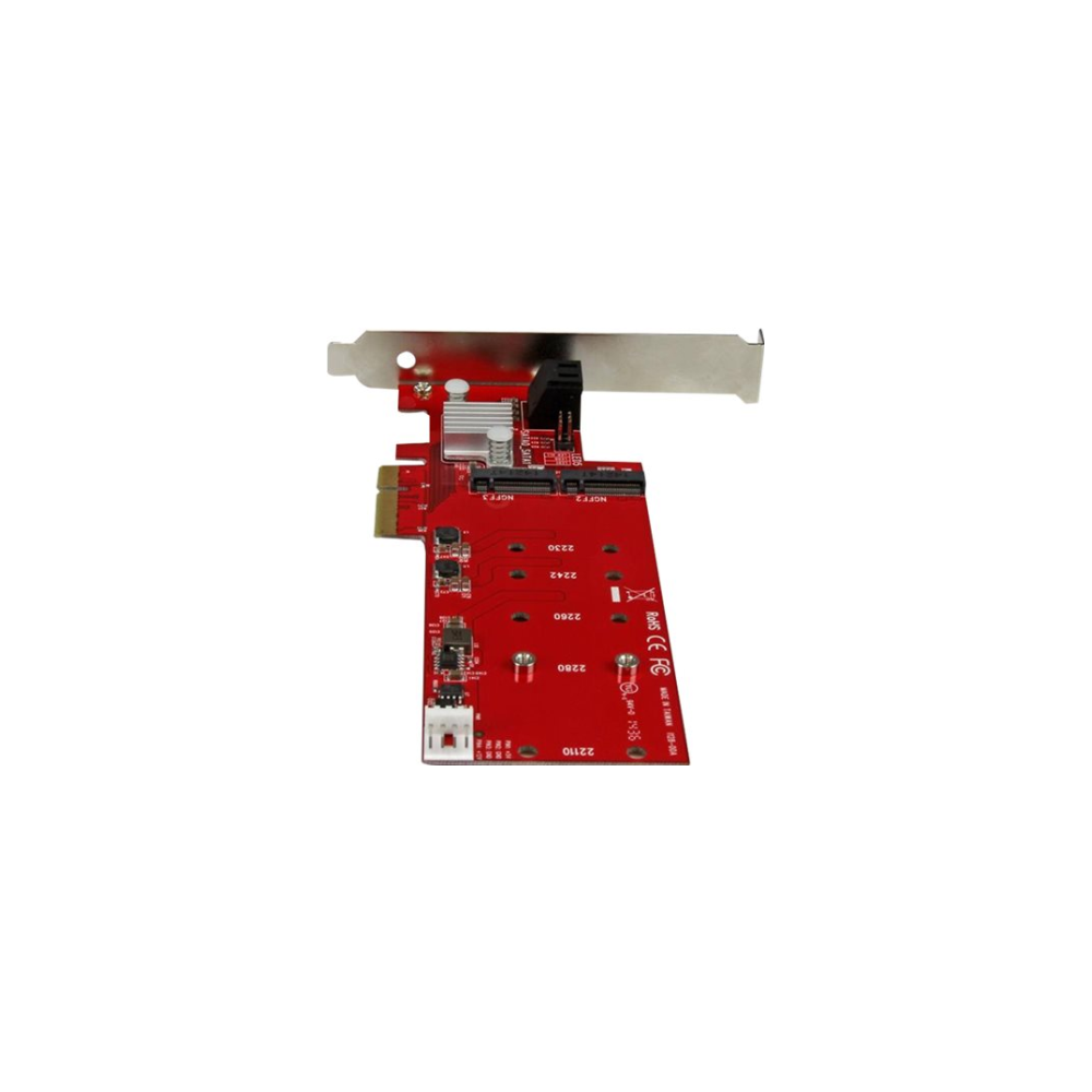 A large main feature product image of Startech 2-Slot PCI Express M.2 RAID Card with 2x SATA3 Ports - PCIe