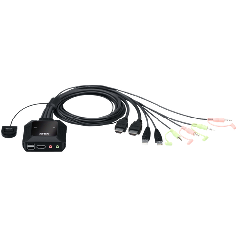 ATEN 2-Port USB 4K HDMI Cable KVM Switch with Remote Port Selector