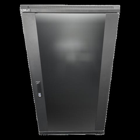 LDR 22U Server Rack Cabinet Glass Door (600mm x 1000mm) Flat Packed (3 Cartons) 2 Included Shelves - Black Metal Construction - Top Fan Vents - Side A