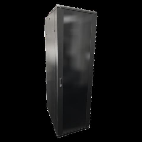 LDR 42U Server Rack Cabinet Glass Door (600mm x 1000mm) Flat Packed (3 Cartons) With 1x 8 Port PDU & 1x 4 Way Fan - Black Metal Construction